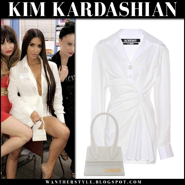 Kim Kardashian in white mini dress jacquemus and clear pumps yeezy outfit style april 13