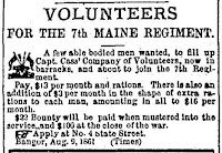 A few able bodied men wanted to fill up Captain Cass' Company of Volunteers now in barracks and about to join the 7th Regiment.