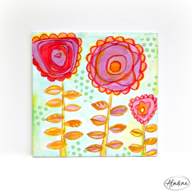 Purple Red and Orange Flower Mixed Media Canvas
