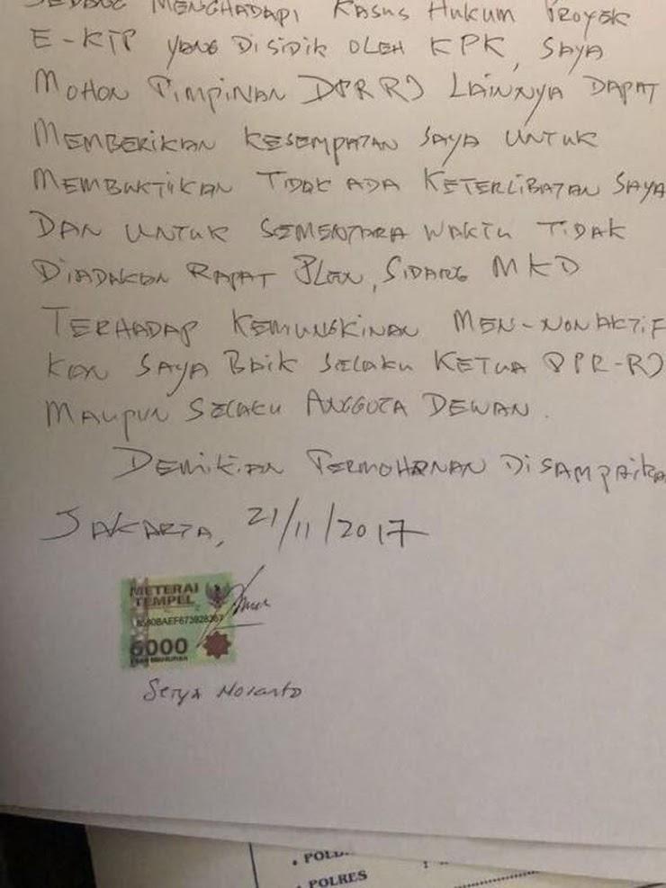 Novanto Tulis Surat Tak Mau Dicopot dari Ketum Golkar dan Ketua DPR
