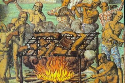 Ilustração canibalismo tupinambás