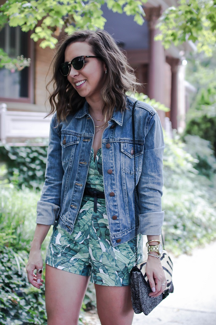 how to wear a romper for a casual brunch. | A.Viza Style | palm print romper. gap jean jacket. leather oxfords.