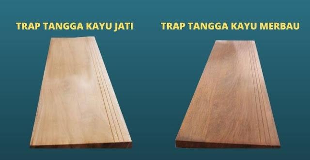 Jenis tangga kayu jati dan kayu merbau