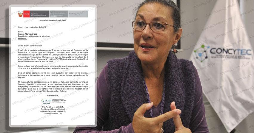 Presidenta del Concytec, Fabiola León-Velarde renuncia a su cargo tras vacancia de Vizcarra