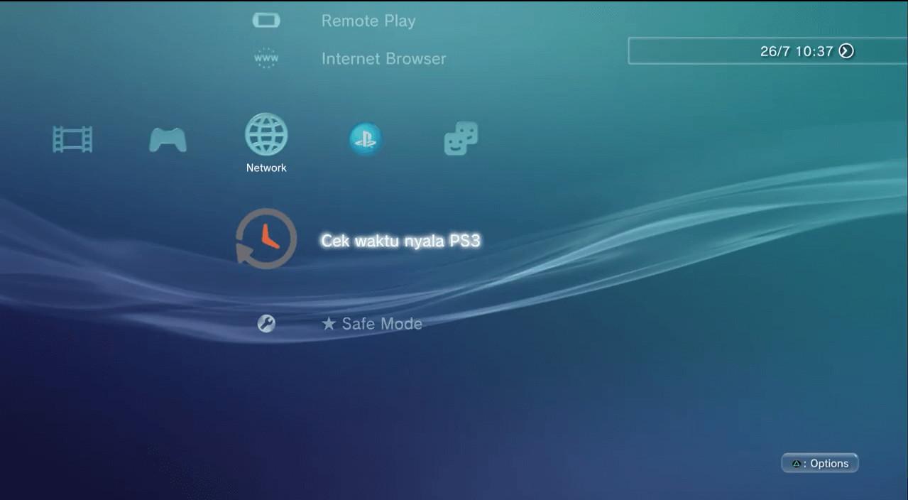 cek waktu nyala PS3