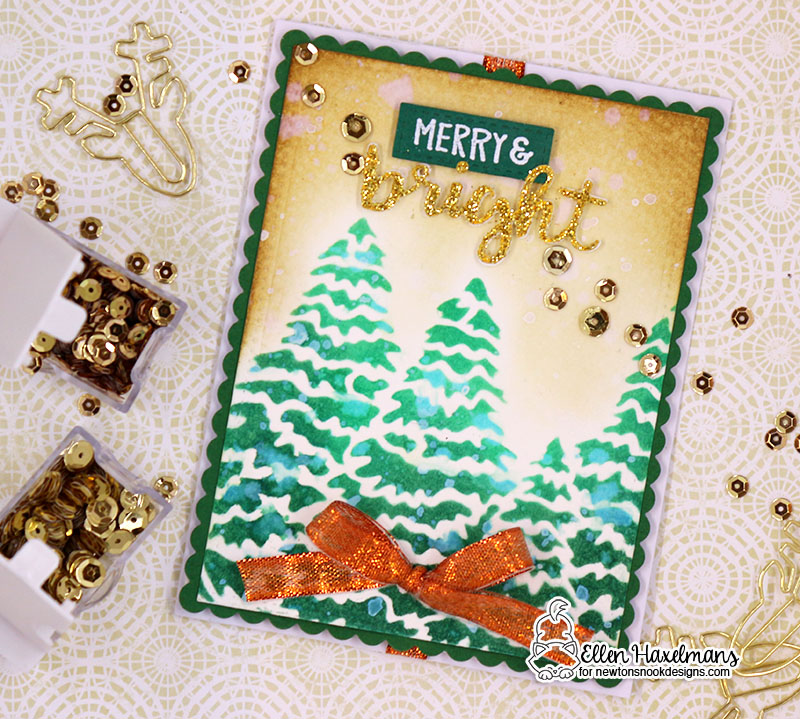 Winter silhouette card by Ellen Haxelmans | Evergreens Stencil and Holiday Greetings Die Set by Newton's Nook Designs  #newtonsnook #handmade