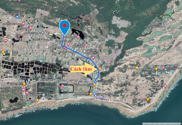 vị trí 500m2 đất cần bán tại Hồ Tràm trên google map