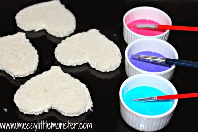 bread painting heart activity for kids