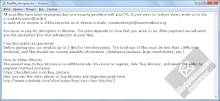 DCRTR Ransomware note
