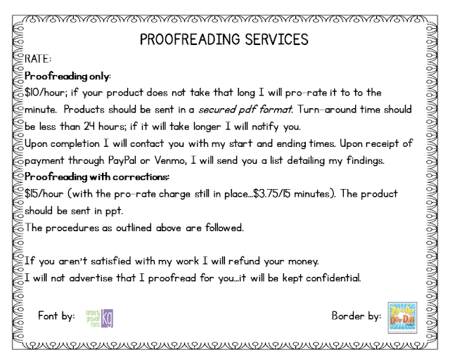 outline of proofreading rates for TpT Authors