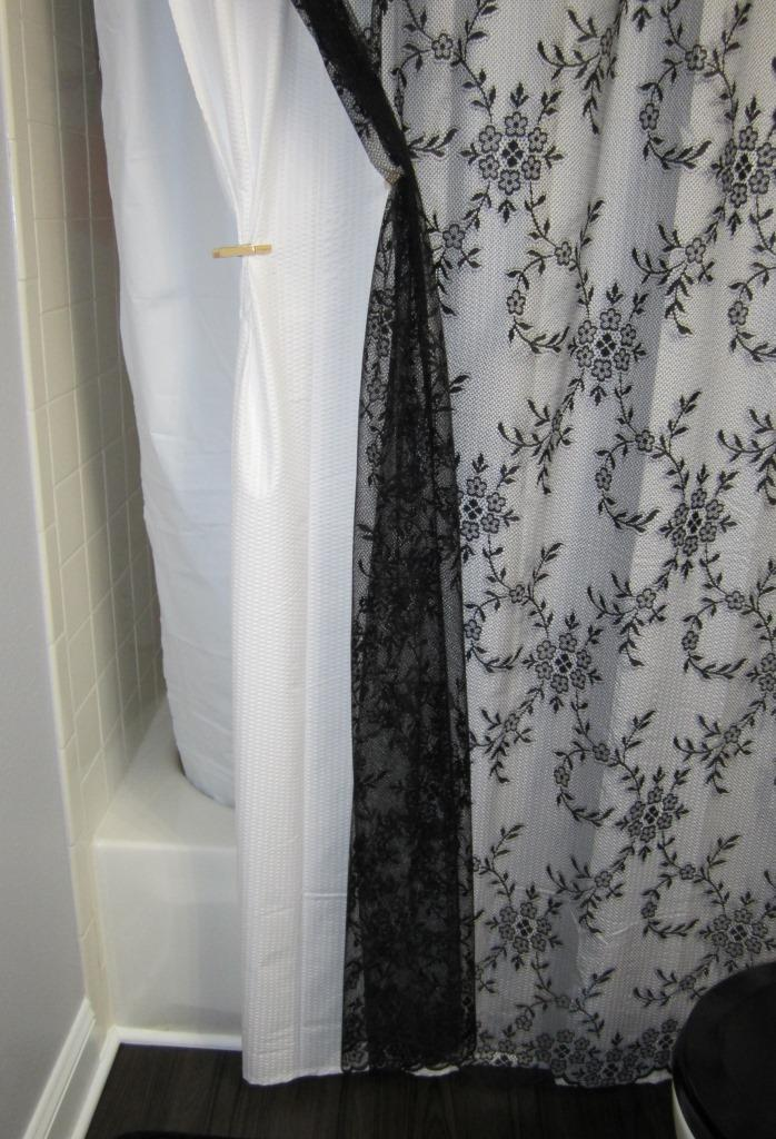 Curtains The Black Lace A Plain White Fabric To Give Background And Vinyl Liner Which Hangs Into Tub Performs Shower Curtain