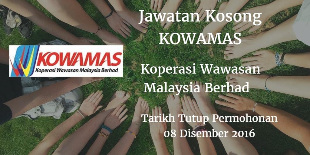 Jawatan Kosong KOWAMAS 08 Disember 2016
