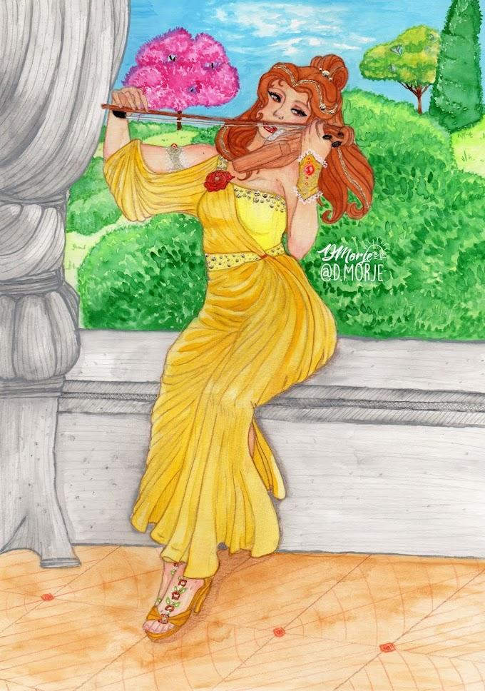 Aquarelista DMorje Aquarelas Originais Coleção Princesas Disney A Bela e a Fera