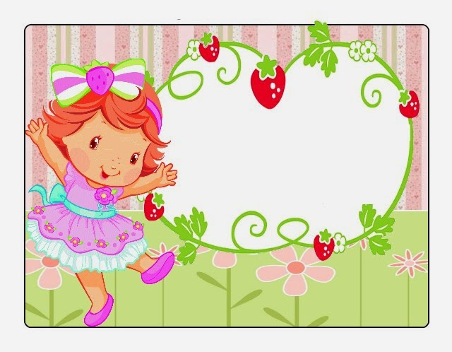 Strawberry Shortcake Baby Party Free Printable Invitations, Labels or Cards.