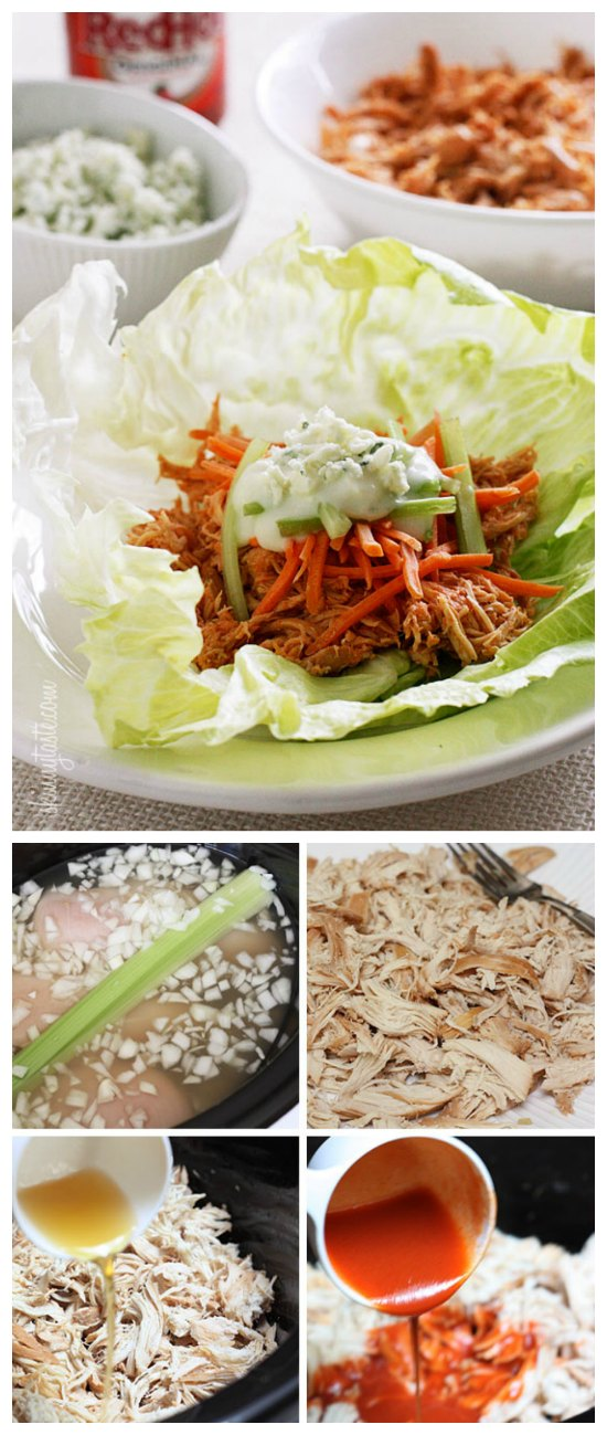 Buffalo Chicken Lettuce Wraps from Skinnytaste [featured on SlowCookerFromScratch.com]
