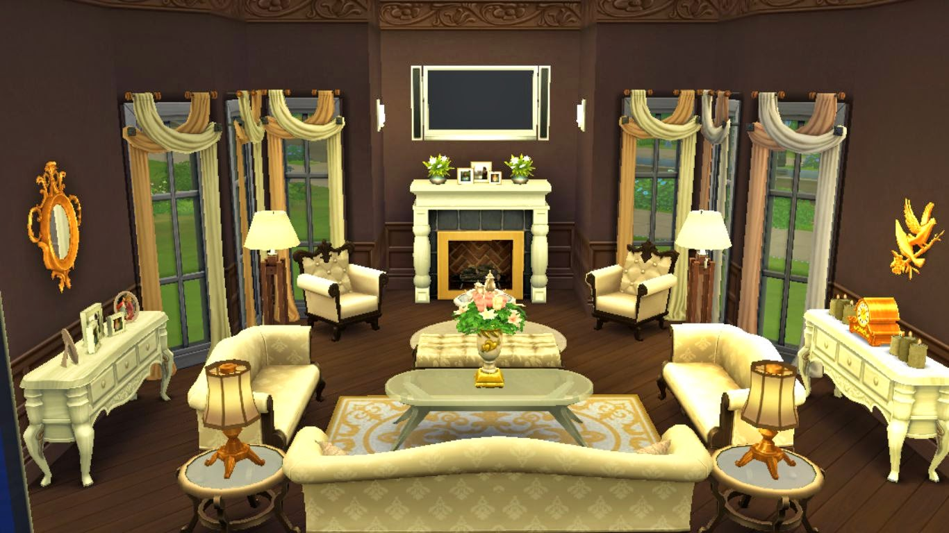 Sims 4 Room Download: Elegant Living Room | Sanjana Sims ...