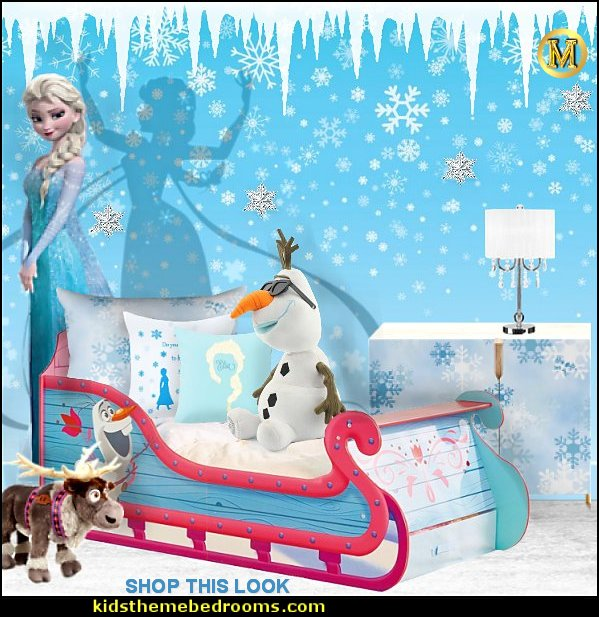 Disney Frozen Sleigh  bed elsa bedroom furniture Frozen theme Elsa bedroom - Elsa theme bedroom ideas - princess Disney Frozen - Winter theme decorations -  Frozen room decorating ideas - Disney Frozen themed decor - Queen Elsa Frozen theme bedroom decor  - Disney Frozen bedroom decorating ideas - snow queen bedroom ideas elsa bedroom furniture elsa bedroom