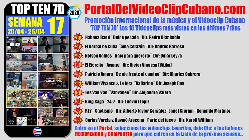 Artistas ganadores del * TOP TEN 7D * con los 10 Videoclips más vistos en la semana 17 (20/04 a 26/04 de 2020) en el Portal Del Vídeo Clip Cubano
