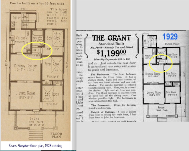 catalog floorplans for Sears Hampton and Sears Grant, side by side