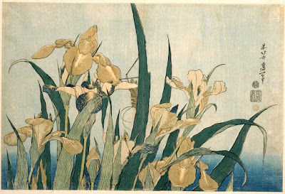 Hokusai. Irises and Grasshopper