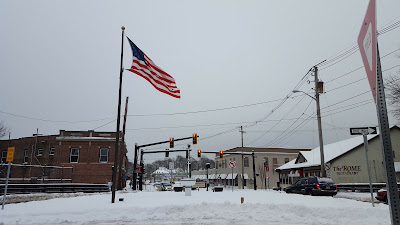 downtown Franklin in the snow