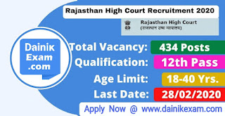 Apply Online for Rajasthan High Court Stenographer Recruitment 2020. Official Notification has been Released, Rajasthan High Court Jobs 2020 @Apply Online Stenographer Grade III 434 Post. High Court Jodhpur vacancy notification 2020, www.DainikExam.com