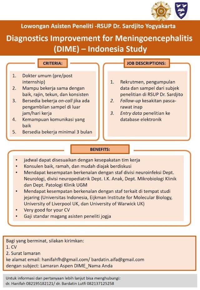 """Lowongan Asisten Peneliti """"Diagnostic Improvement for Meningoencephalitis (DIME)- Indonesia Study"""""""