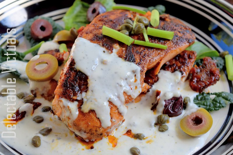 Spicy Pan-Seared Salmon with Feta Sauce