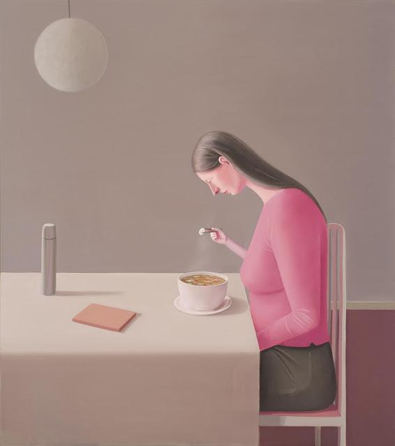 Prudence Flint, pinturas, imagenes de soledad femenina bonitas, chidas de arte inspirador, mujer comiendo,