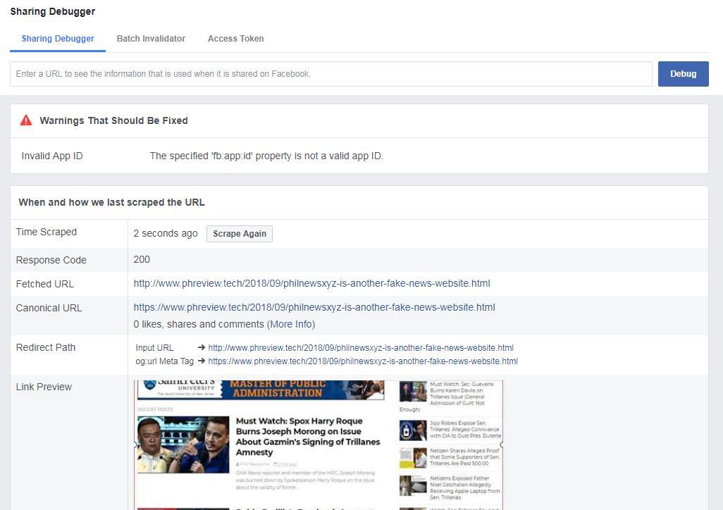 Facebook Debugger Warnings
