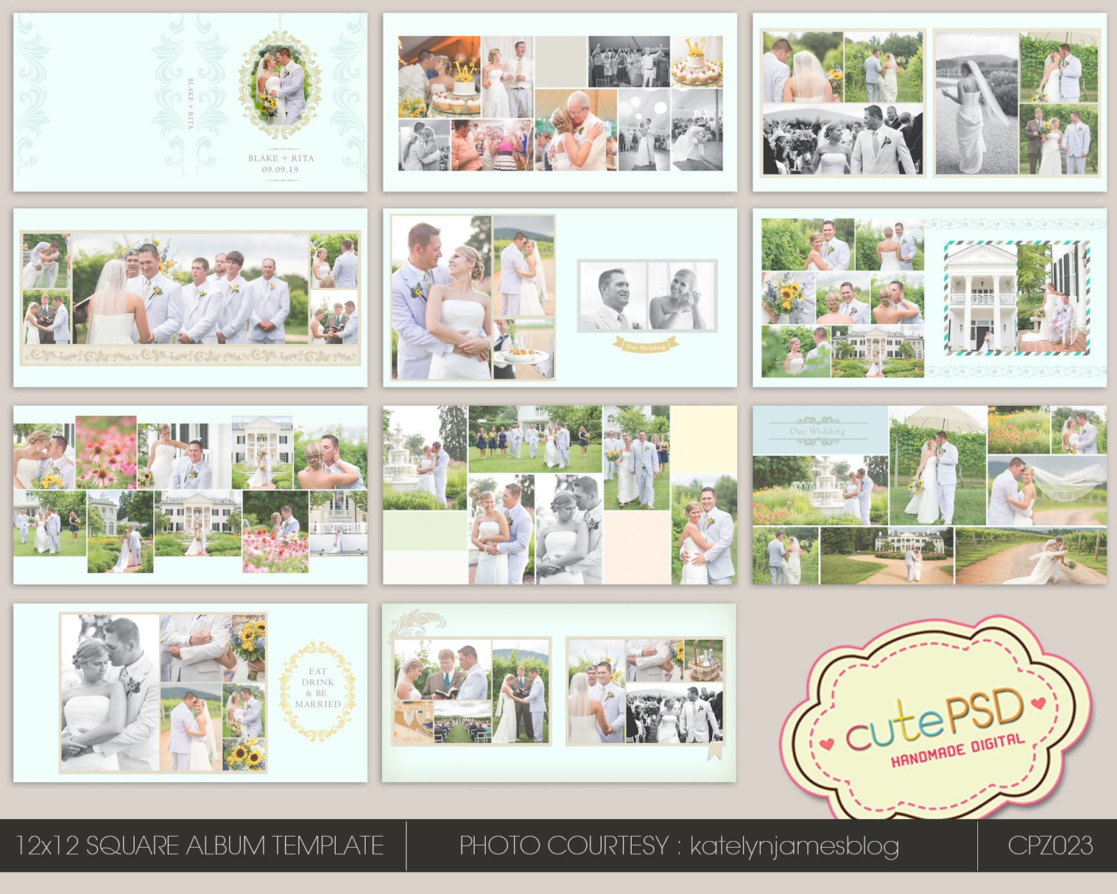 Instant 12x12 Wedding Al Template Hy Blue Cpz026