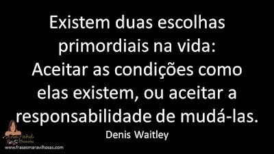 Existem duas escolhas primordiais na vida: Aceitar as condições como elas existem, ou aceitar a responsabilidade de mudá-las. Denis Waitley