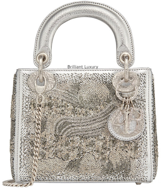 Brilliant Luxury♦Lady Dior bag, silver color textured goatskin embroidered with metallized tubes-hand-hammered silver tone metal charms, designer Olga De Amaral