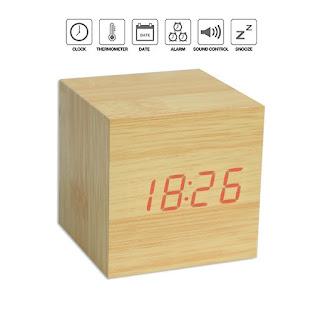 sveglia orologio led legno on tenck