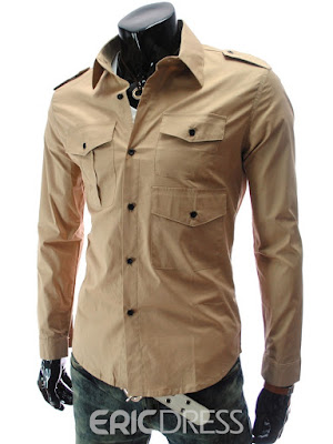 Plain Multi-Pocket Men's Casual Shirt
