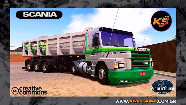 SCANIA T113 - CINZA COM FAIXAS VERDES