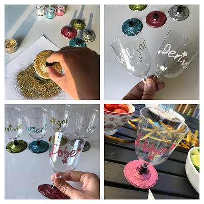 Piffa plastglas med Silhouette Double-sided adhesive och glitter