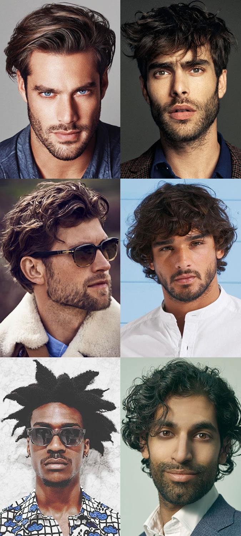Homens penteados de comprimento médio com barbas curtas / pêlos faciais