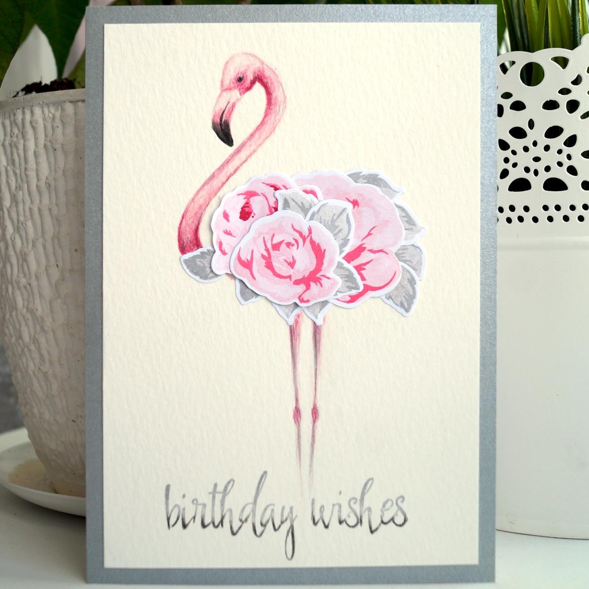 открытка фламинго легкий