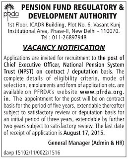 Applications  are invited for Chief Executive Officer for PFRDA's National Pension System Trust