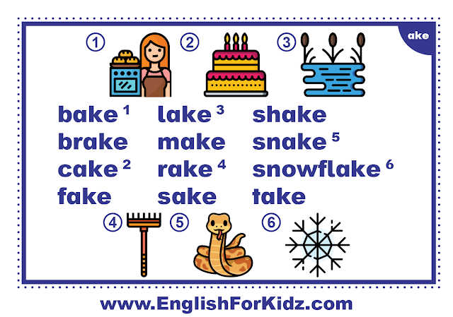 ake family words - printable flashcard with pictures