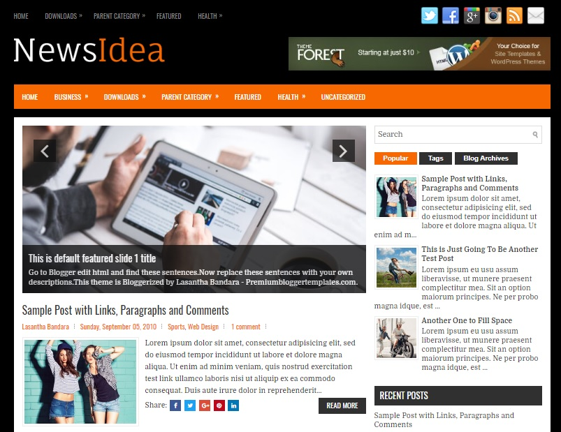 NewsIdea Blogger Template has a Google Fonts Free Download NewsIdea Blogger Template