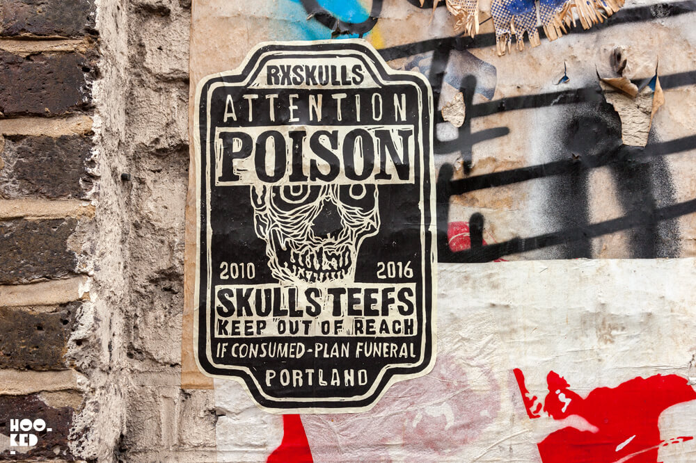 England, London, Shoreditch paste-ups by RX SKULL