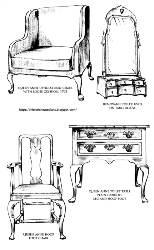 Top Left, Queen Anne Upholstered Chair, With Loose Cushion, 1705. Top  Right, Removable Toilet, Used On Table Below. Bottom Left, Queen Anne  Toilet Table, ...