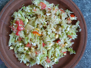 Bottle gourd, Watermelon white, Green gram sprouts, Tomato, Coconut