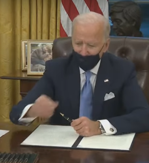 "Biden in the ""Oval Office"", New Parking Lot in the Background, and LOL Trump Walks by in Both Windows"