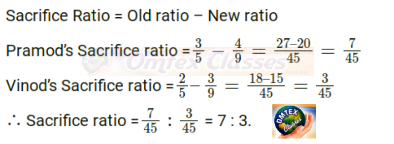 Pramod and Vinod are partners sharing profits and losses in the ratio of 3:2. After the admission of Ramesh the new ratio of Pramod, Vinod and Ramesh is 4:3:2. Find out the sacrifice ratio.