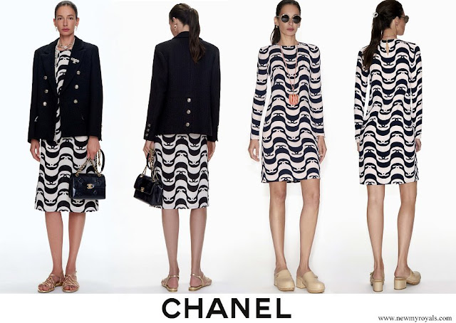 Charlotte Casiraghi wore Chanel Silk Crepe dress Black and Ecru spring-summer-2021-pre-collection