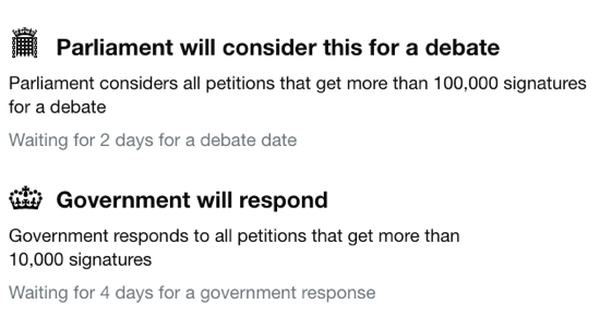 Image: Screen-grab of petition next steps
