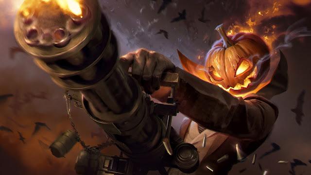 Halloween, wallpaper HD, zucca, mitragliatore